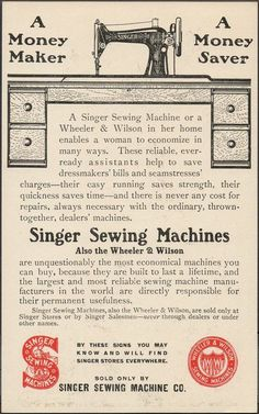 This Singer Sewing Machine Trade Card also touts the Wheeler Wilson Sewing Machine.  This is after Singer bought the Wheeler Wilson Co.  062 - back