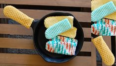 If you, like me, get too excited when dinner looks ready, you might also have a little collection of blisters and scars from grabbing the too-hot handle of a pot, pan or skillet. However, there is a simple solution: these adorable little crocheted pan handle holders!This is a great project for