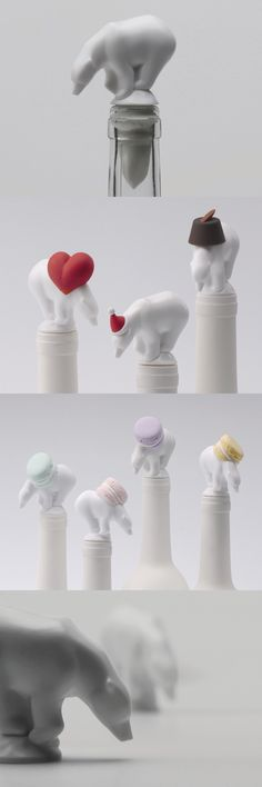 Bear stopper limited edition #Wine stopper_ Lufdesign Wine Stoppers, Ceramic Design, Paper Clay, Public Art, Ceramic Pottery, Kitchenware, Interior Architecture, Packaging Design, 3d Printing