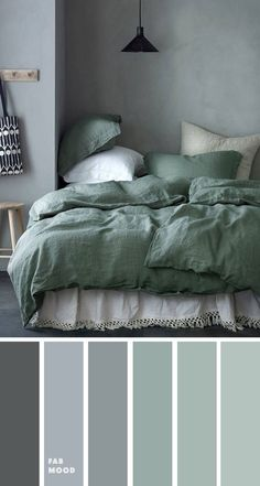 Grey green bedroom color palette - - Bedroom color scheme ideas will help you to add harmonious shades to your home which give variety and feelings of calm. From beautiful wall colors. Grey Green Bedrooms, Green Bedroom Colors, Grey Colour Scheme Bedroom, Green Rooms, Grey Palette, Calming Bedroom Colors, Sage Green Bedroom, Green Bedding, Grey Color Schemes