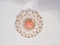 Cannetille Sterling Silver Enamel Round Brooch Pin Vintage
