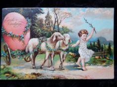 Beautiful Vintage Easter Greetings Postcard Sheep Card Victorian Embossed