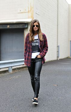 Le Collection Artistique | flannel, faux leather pants, slip-on sneakers, street style, fall outfit