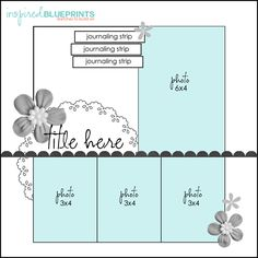 4 photo scrapbook page layout Inspired Blueprints Album Scrapbook, Scrapbook Layout Sketches, Scrapbook Templates, Wedding Scrapbook, Card Sketches, Scrapbook Paper Crafts, Scrapbooking Layouts, Anniversary Scrapbook, Scrapbook Photos