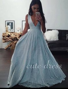 84b3e8b9f02 Simple Blue A-line v neck lace long prom dress for teens
