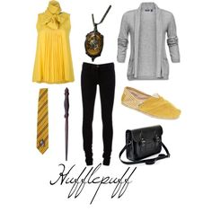 """""""Hufflepuff"""" by michelle-geiser on Polyvore. Interesting that my favorite house had my favorite outfit."""
