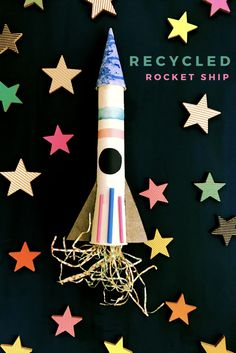 Recycled art projects | SPACE crafts | DIY Rocket Ship | Space Party | K-8 art class | Paper Tube Crafts | Paper tube rocket