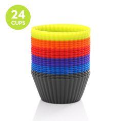 zanmini Pirottini Cupcake in silicone (Set di 24) Stampini per muffin e cupcake antiaderente e impilabili per facile da riporre/Silicone Alimentare/senza BPA/lavabili in lavastoviglie: Amazon.it: Casa e cucina