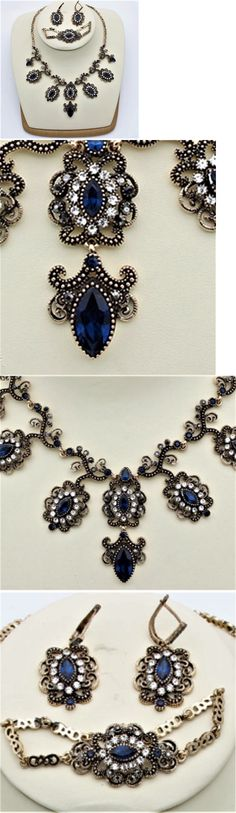 Jewelry Sets 50692: Vintage Style Turkish Jewelry Set Necklace Earrings Blue Clear Crystals Chic -> BUY IT NOW ONLY: $30 on eBay!