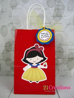 Snow White Favor Bags with Tags  set of 8 by 21Creations on Etsy, $18.00