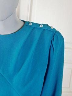 Turquoise Cocktail Dress, 1980s German Vintage Below-the-Knee Elegant Blue Dress w Diamanté Epaulet, Dynasty Mother of Bride: 10 US, 14 UK by YouLookAmazing on Etsy