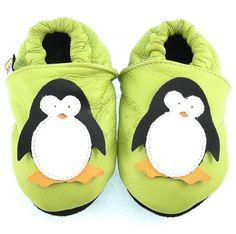 Skórzane kapcie Afelo Penguin Zielony | Buty \ Kapcie dla dzieci [1056] | Sklep internetowy SklepDorotka.pl