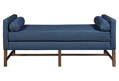 Andrew Linen Day Chaise, Navy on OneKingsLane.com