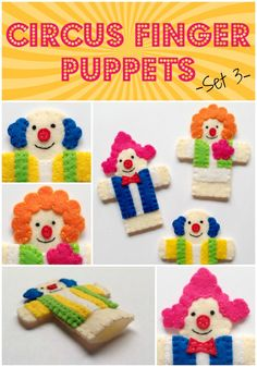 Circus Finger Puppets - Set 3 - Clowns  FREE SEWING PATTERNS AND TUTORIALS.  On the Cutting Floor.  #sewing