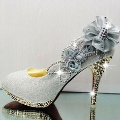 Sexy Diamond Embellished Round Closed Toe Super High Stiletto Silver Suede Wedding Shoes - $21.49 from: LovelyWholesale...Here again, I could wrap in denim and add the stones to the soles and heel...make some lighter blue denim flowers and add the bling...Connie