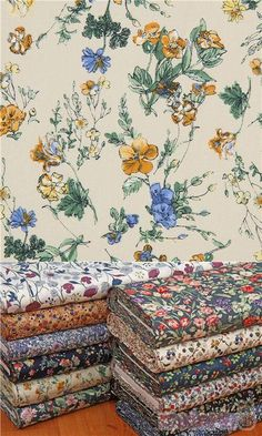 """beige cotton fabric with flowers in blue, yellow etc., Material: 100% cotton, Fabric Type: strong cotton printed shirting fabric, Pattern Repeat: ca. 20.1cm (7.9"""") #Cotton #Flower #Leaf #Plants #JapaneseFabrics"""