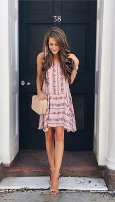 Floral sundress paired with strappy heels for a great day to night transitional style.