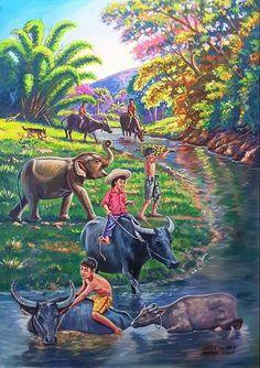 Farm Paintings, Indian Paintings, Landscape Paintings, Art And Illustration, Art Illustrations, Filipino Art, Composition Art, Art Village, Indian Folk Art