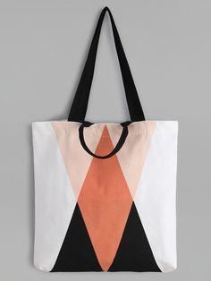 Geometric Pattern Minimalist Canvas Tote Bag - 11 USD