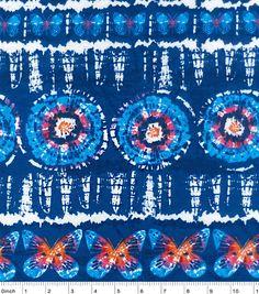 Snuggle Flannel Fabric-Navy Butterfly Tie Dye