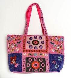 Glass Seed Beaded Purse Handles Pink Blue Multi Color Floral Geometric Design  #Unknown #ShoulderBag