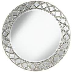 "Grannis Silver 33 1/2"" Round Wall Mirror"