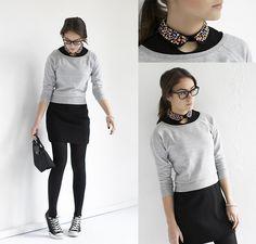Gray Pullover + Black Mini Skirt + Black Opaque Tights + Black Converse + Jeweled Collar