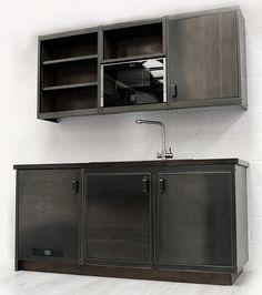 Stylish kitchen unit with a premium industrial aesthetic Industrial Style Kitchen, Industrial Chic, Vintage Industrial, Vintage Kitchen Cabinets, Stylish Kitchen, Kitchen Units, Bathroom Medicine Cabinet, Kitchen Decor, Magic