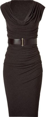 ShopStyle: Donna Karan Smoky Brown Belted Asymmetric Dress Love this