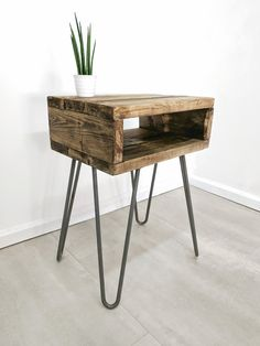 """Retro Side Table """"Noa"""" In Roast Coffee Finish With Hairpin Legs Bedside Table Decor, Boho Bedside Table, Home Decor, Wood Bedside Table, Reclaimed Wood Bedside Table, Side Table Wood, Boho Side Table, Bedside Table, Retro Side Table"""