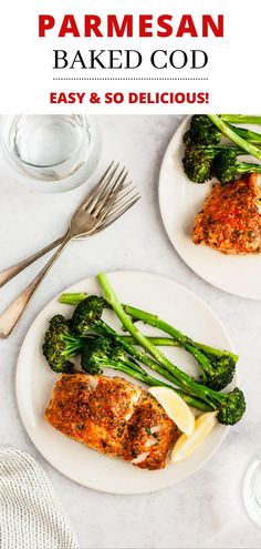 This Parmesan Baked Cod recipe is one of the easiest to prepare for a quick, tasty weeknight dinner. A healthy meal ready in less than 30 minutes! Baked Cod Recipes, Fish Recipes, Seafood Recipes, Cooking Recipes, Salmon Recipes, Appetizer Recipes, Fish Dinner, Seafood Dinner, Crusted Cod Recipe