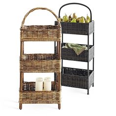 Virgo Zodiac: Pier 1 3-Tier Rattan and Plicker Baskets give you power over that small and cluttered space
