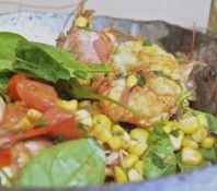 Fresh Corn Salad With Spicy Shrimp and Tomatoes | Shrimp, Corn and Tomato Salad Healthy Salmon Dinner for Two Berry ...
