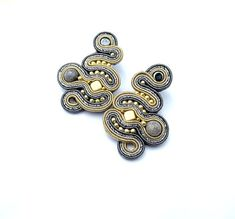 High Fashion Earrings Posts Gold and Gray Soutache Earrings Hand Crafted Jewelry