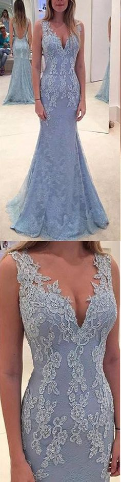 Ombreprom Elegant Sleeveless V-neck Evening Gown Dress Appliques Lace Beaded Long Mermaid Tulle Prom Dresses (OB665)