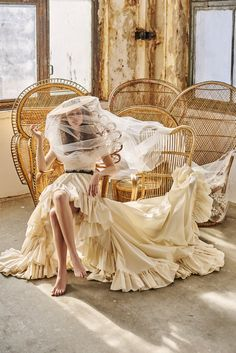 Pastoral Romance / Nora Sarman Bridal / The Edit skirt and the Dalma top with the Emotion veil