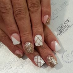 White and gold nail art French Acrylic Nails, Best Acrylic Nails, Gel Nail Art, Nail Manicure, Diy Nails, Cute Nails, Best Nail Art Designs, Acrylic Nail Designs, Checkered Nails