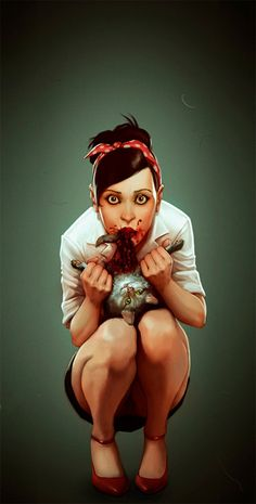 zombie pin up by ~glooh