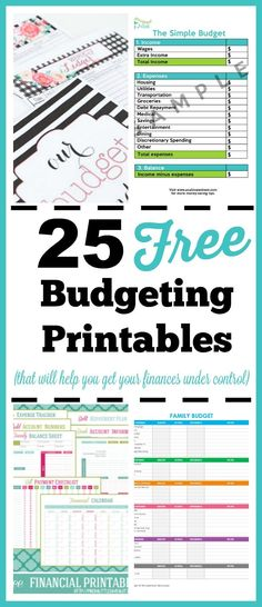 25 Free Budgeting Printables - Get better at budgeting and take control of your finances by using these free printable budget forms! Living on a budget, frugal living, budget binder, free printables, money saving tips, meal planning, financial printables