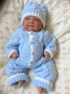 Knitted Snowsuit and Hat Set in Blue /White For Preemie or
