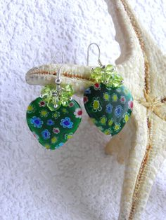 Green Venetian Murano Glass Earrings/ heart earrings/ by BestMaria, $16.00
