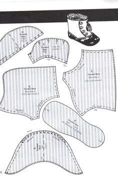 Doll Shoe Patterns, Clothing Patterns, Dress Patterns, Victorian Dolls, Antique Dolls, Ropa American Girl, Sewing Dolls, Old Dolls, Doll Shoes