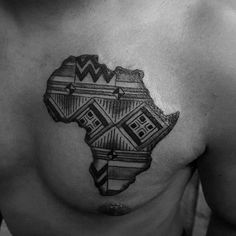Creative Africa Pattern Male Chest Tattoo