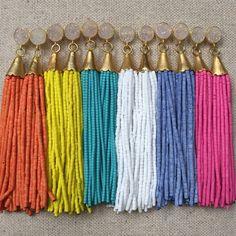 Natural Druzy Stud Beaded Tassel Earrings