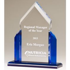 """Our Blue Peak Acrylic Award features a clear piece of acrylic for engraving mounted in blue acrylic sides & base. A6927 is 8"""", A6928 is 9"""" & A6929 is 10"""" in size, all include free engraving!"""