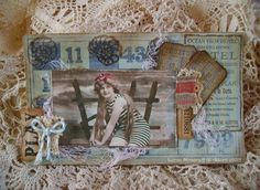 Vintage beach and link to vintage stamps