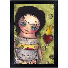 Sagrado by Abril Andrade Griffith Big Eye Latina Girl Canvas Art Print – moodswingsonthenet Stretched Canvas Prints, Canvas Art Prints, Framed Art Prints, Fine Art Prints, Rolled Paper Art, Lowbrow Art, Painting Edges, Big Eyes, Art Reproductions