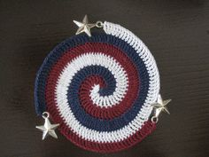Patriotic Crochet Spiral Coaster by sara ~~ thesplitstitch