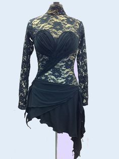 Figure Skating Dress  from black Lace with Swarovsky crystals on Etsy, $519.00