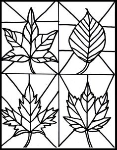 Free fall leaves stained glass printable | clip art - weather | Pinte…